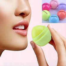 6 Colors Different Fruit Flavor Moisturizing Lipbalm Women Fashion Skin Care Cute Round Ball Shape Lip Balm(China (Mainland))