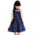 2016 Summer Kids Floral Dress For Baby Girls New Branded Design Girls Sleeveless Dress Cotton Casual