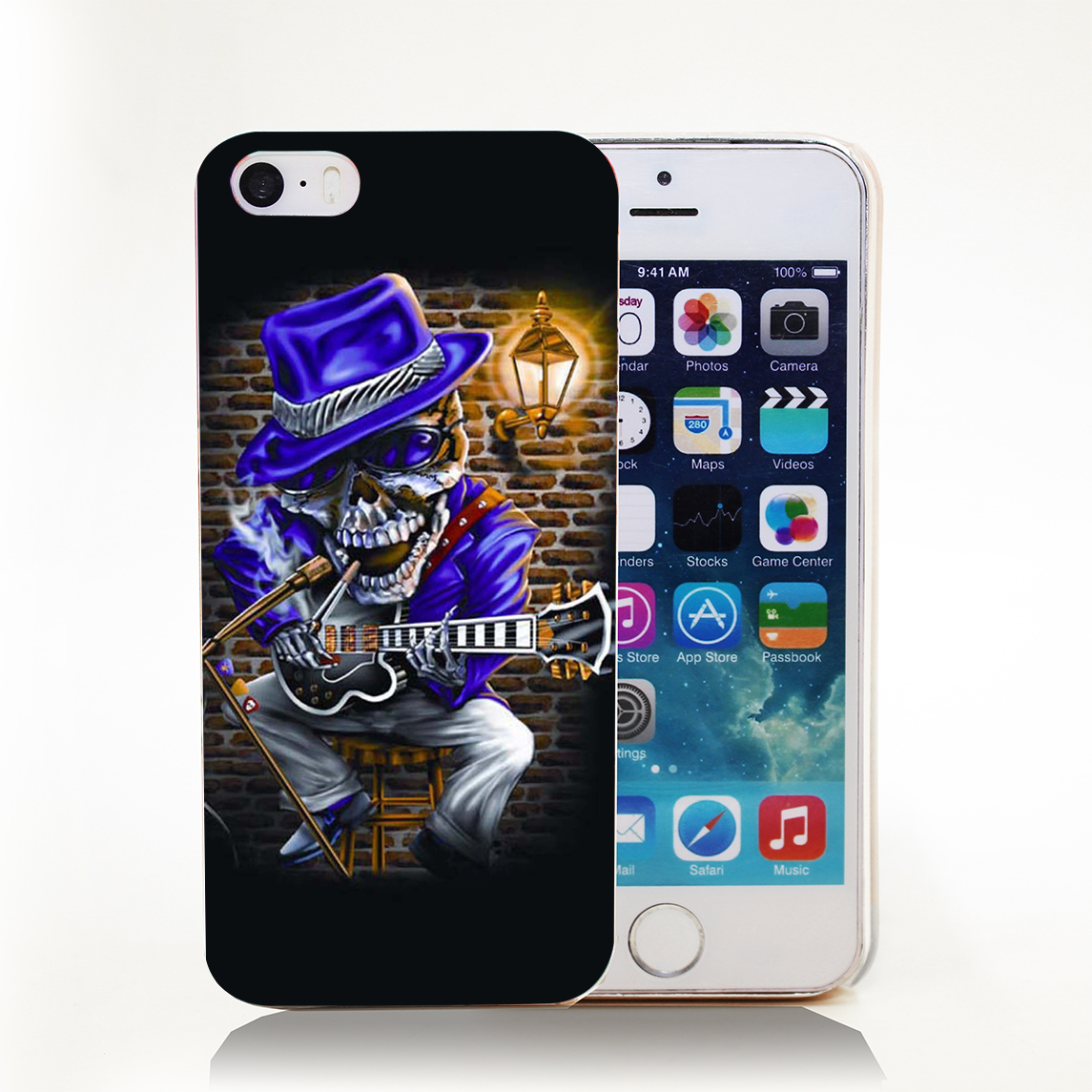 Skull Music Blues Rock Guitar Personalized Hard Transparent Cover Case for iPhone 4 4s 5 5s 5c 6 6s Protect Phone Cases(China (Mainland))