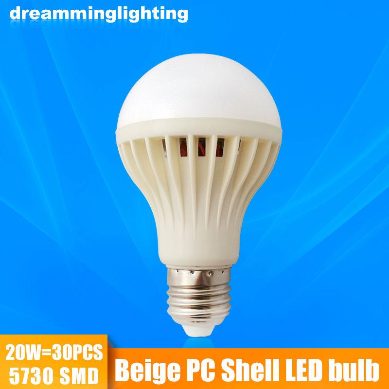 E27 Led Lamp 110v/220v Beige Plastic Shell Interior Living Lighting Life 3w 5w 7w 9w 12w 15w 20w Cold Warm White Bulbs(China (Mainland))
