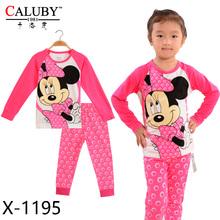 Autumn New Princess Girls Sleepwear Cartoon Polka Dot Long Sleeve Toddler Baby Kids Clothing Set Tops Pants Children Pajama