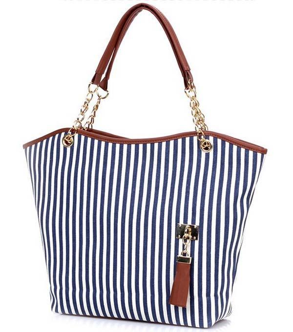 Modern Designer New Fashion Women Handbag Lady Shopping Tote Stripes Tassel Shoulder Bag Canvas Jn15(China (Mainland))