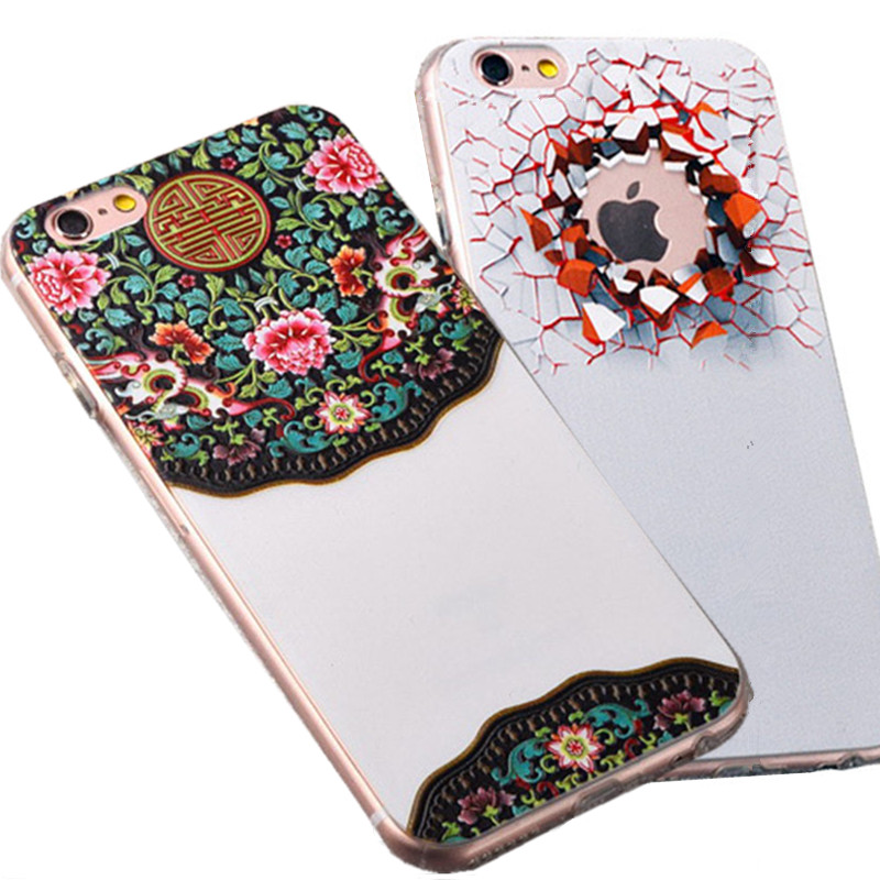 For iPhone 6 6S Case 3D Embossing Relief Silicone TPU Soft Back Phone Cover Case With