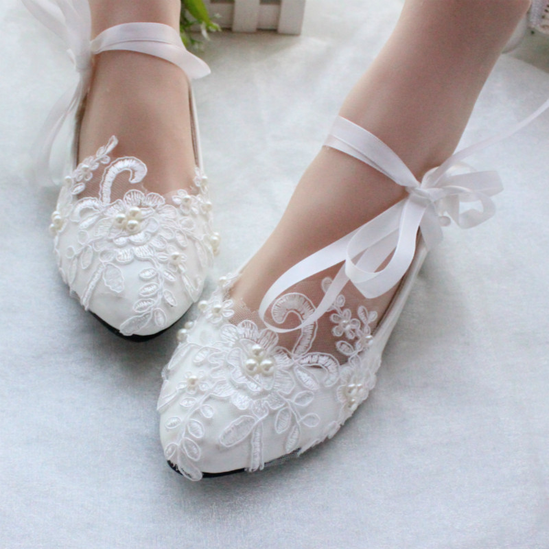 Free Shipping Women White Ivory Lace Pearls Wedding Shoesladies Bridal Party Ballet FlatsSize