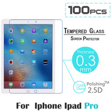 100pcs/lot 0.3mm Screen Protection Tempered Glass Film For Apple iPad Pro 12.9″ Screen Protector Cover Glass On the For iPad Pro