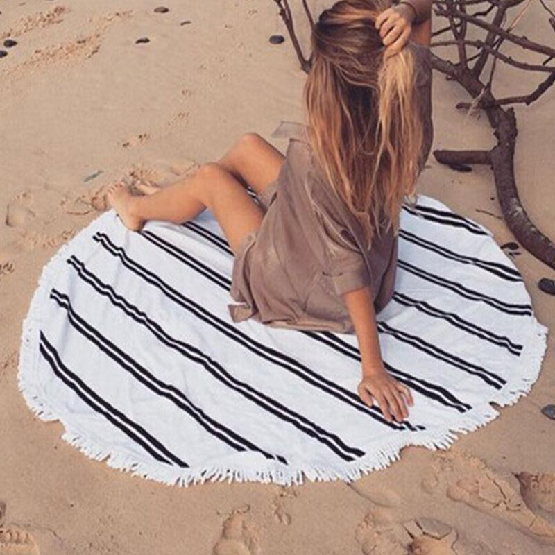 Women Irregular Cheap Summer Round Beach Towel Brand Large Microfiber Hamburg Plaid Bohemian Cover-up Smock Blankets For Adults(China (Mainland))