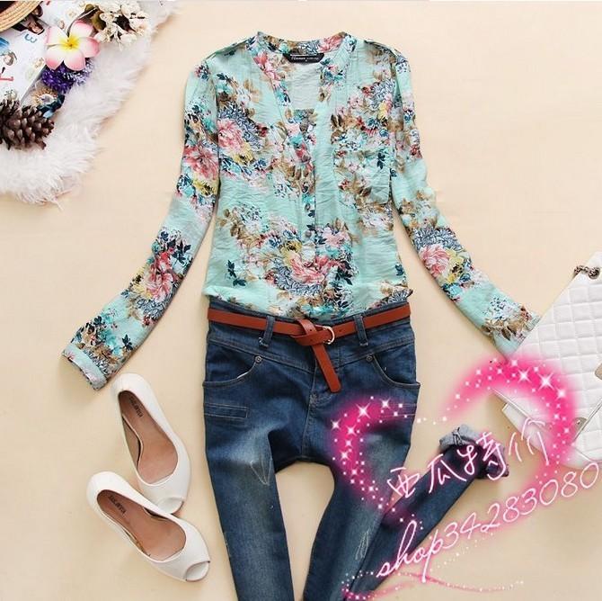 Новый 2015 летний стиль v-образным вырезом шифон блузки женские цветок печать рубашка одежда blusas femininas рубашки Большой размер