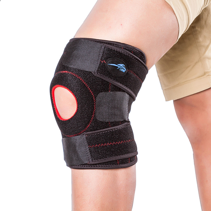 Top Quality Breathable Neoprene Sports Leg Knee Support Brace Wrap Protector Pads Cap Patella Guard 2 Spring Bars One Size Black(China (Mainland))