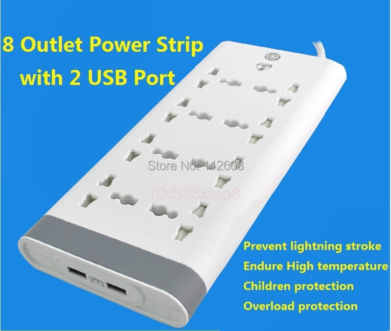 Free Shipping 8 Outlets Power Strip with 2 USB Charging Port Multipurpose Power Strip with USB Charging Port<br><br>Aliexpress