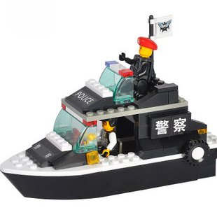 Candice guo! Building blocks set police patrol boat/ship educational plastic toy with assembles particles children toys(China (Mainland))