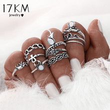 Buy 17KM 10pcs/Set Gold Color Flower Midi Ring Sets Women Silver Color Boho Beach Vintage Turkish Punk Elephant Knuckle Ring for $1.39 in AliExpress store