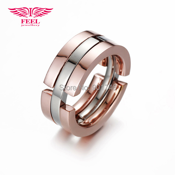 High Quality Trendy Party Rose Gold Plated Stainless Steel Best Friends Ring For Perfume Women Men(China (Mainland))