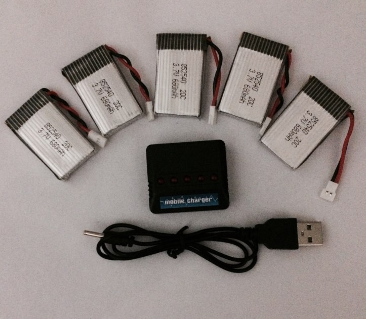 5 in 1 Syma X5C X5C-1 X5A X5 Lipo Battery Charger + 5Pcs 3.7V 680mAh 20C Battery Free shipping(China (Mainland))