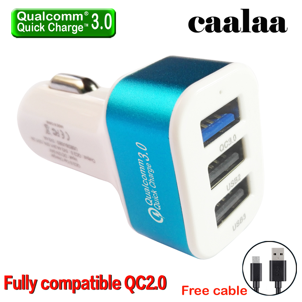 Caalaa QC3.0 3 Port USB car charger for Samsung iPhone compatible QC2.0 car-charger Quick charge 3.0 for HTC Samsung S7 LG G5(China (Mainland))