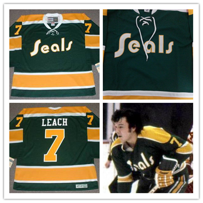 Men's stitched cheap California Golden Seals Jersey Green #7 REGGIE LEACH 1972 Vintage Throwback Ice Hockey Jersey(China (Mainland))