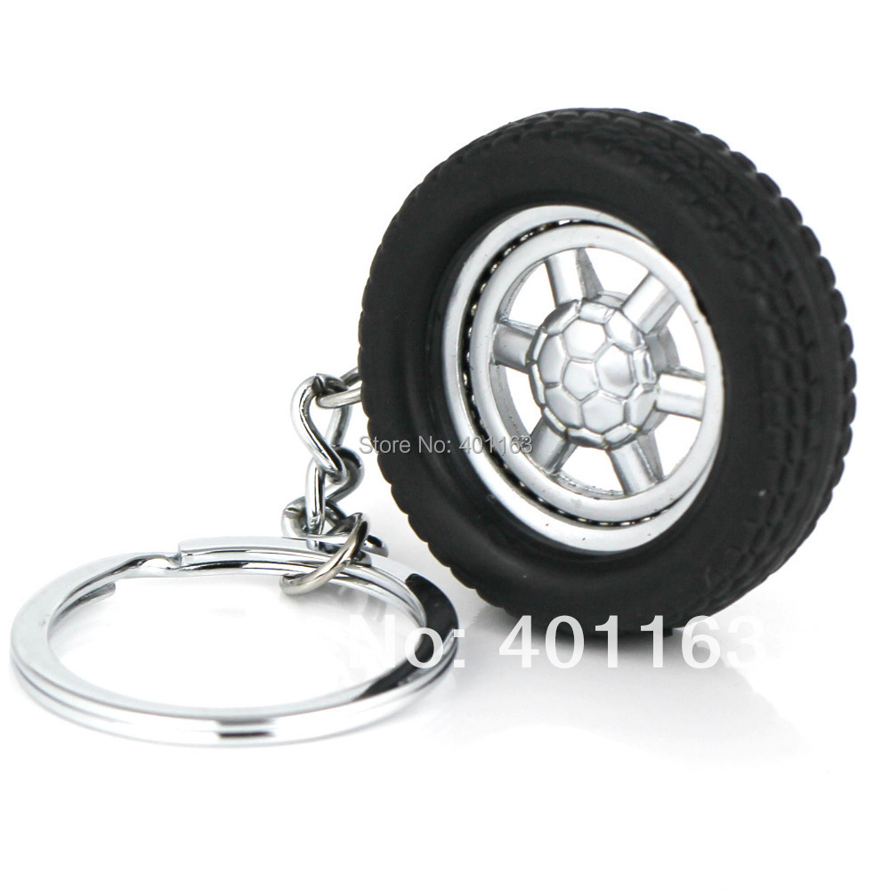 Spinning Wheel Rim Keychain Creative Automotive Accessories Auto Part Model Tyre Tire Key Chain Ring Keyring Keyfob Keyfob(China (Mainland))