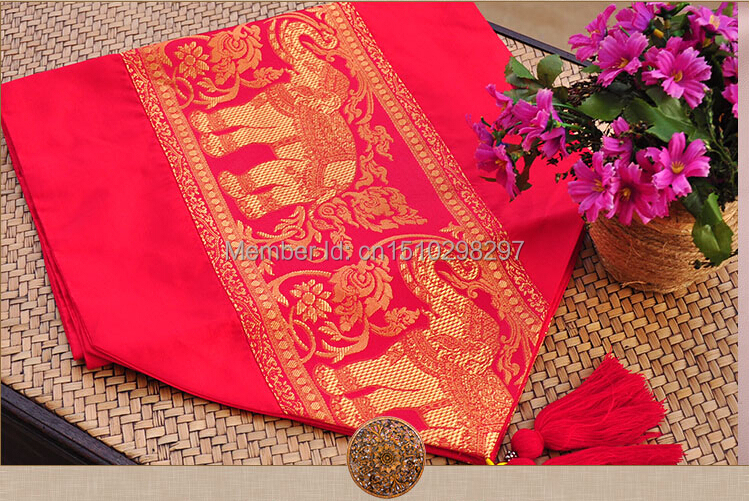 Southeast Asian Thai ethnic style table flag ,high quantity silks and satins table cloth, table runners 35*190CM(China (Mainland))