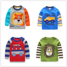 Brand 2014 Boys T-shirt Kids Tees Baby Boy tshirts Children tees Long Sleeve 100% Cotton Cars Fireman Top Quality Free Shipping