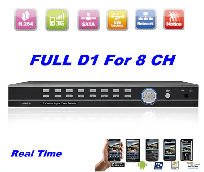 HD Full D1 8CH H.264 Real Time standalone cctv security network alarm standalone DVR with HDMI(China (Mainland))