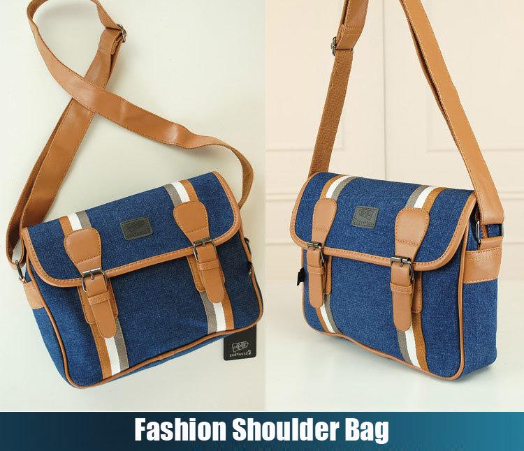 HOT 2015 causal brand blue leahter canvas men women messenger bags vintage crossbody bags for women fashion shoulder bags bolsas(China (Mainland))