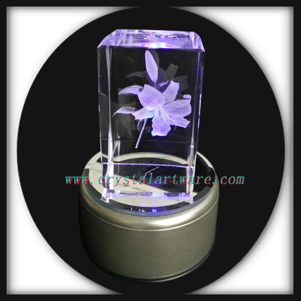 3D Laser Engraving Crystal Lily Crystal Valentine's Day Gift Birthday Gift Mother's Day Gift with Multicolor LED Light Base(China (Mainland))