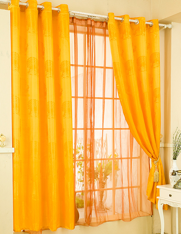 Single Jacquard Safflowers Yellow Curtain For Living Part 72