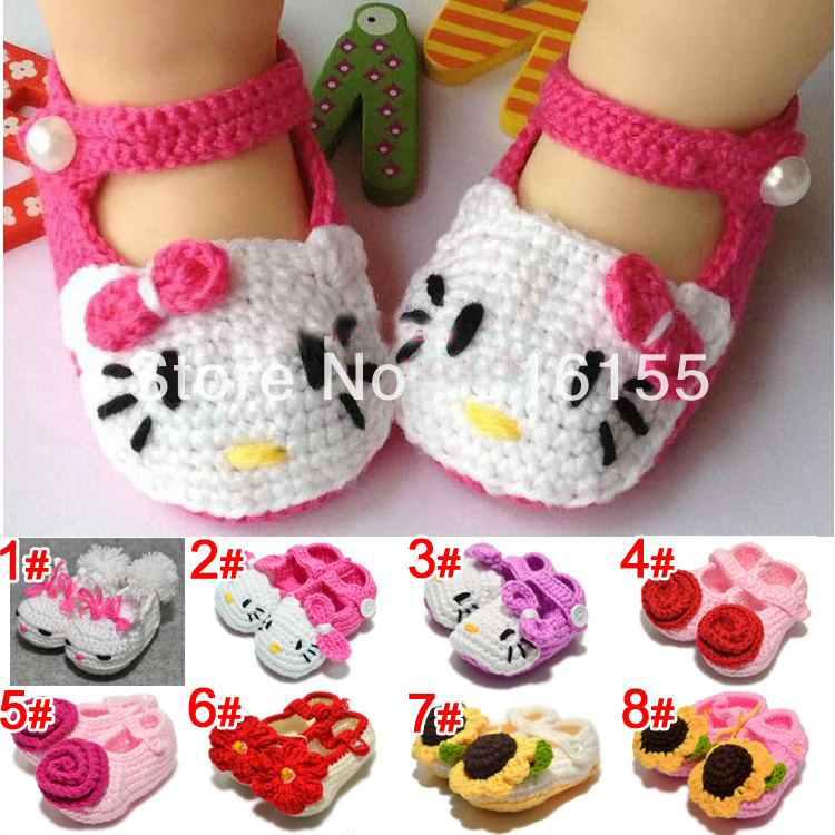 Free shipping flower girl crochet shoes Toddler Shoes Handmade infant Shoes baby First walker shoes 11 colors<br><br>Aliexpress