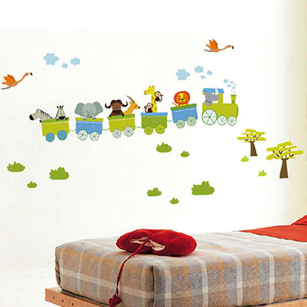 Baby boy room decor stickers - Free Shipping Animal Circus Train Children Diy Removable Wall Stickers Parlor Kids Bedroom Home House Decoration Hg02852 S03