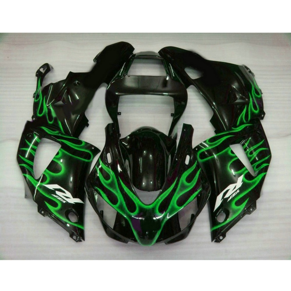 Professional motorcycle injection mold fairings kit for YAMAHA 1998 1999 YZFR1 YZF R1 98 99 green flame plastic fairing(China (Mainland))