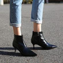Wees hoge hak wit booties Herfst en winter nieuwe fijne hak Martin laarzen Naakt laarzen vrouwen laarzen Voorjaar enkele laarzen(China)