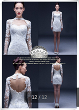 2015 free shipping sheath white lace open back sexy short wedding dresses knee length long sleeve bridal gowns(China (Mainland))