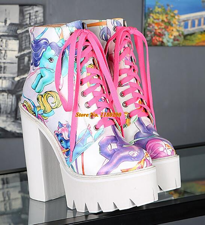 New Fashion Women Lace-up High Platform Thick Heel Printing Ankle Boots White Black Printed High Heel Short Boots Sexy Shoes<br><br>Aliexpress