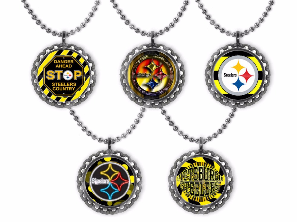 2016 New Arrival Pittsburgh Steelers Images Glass Cabochon Pendant Necklace, Handmade Bottle Cap Necklace, Memorial Jewelry(China (Mainland))