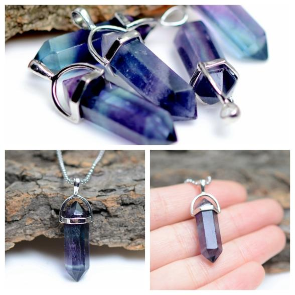 18 Colors Summer Style Bullet Natural Stone Amethyst Necklace For Women Turquoise Crystal Gem Stone Pendant Statement Necklaces(China (Mainland))