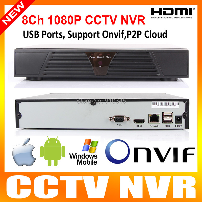8 Channel HDMI Full CCTV NVR 8CH 1080P H.264 Network Video Recorder NVR Support CMS ONVIF System For IP camera Mobile Phone View(China (Mainland))