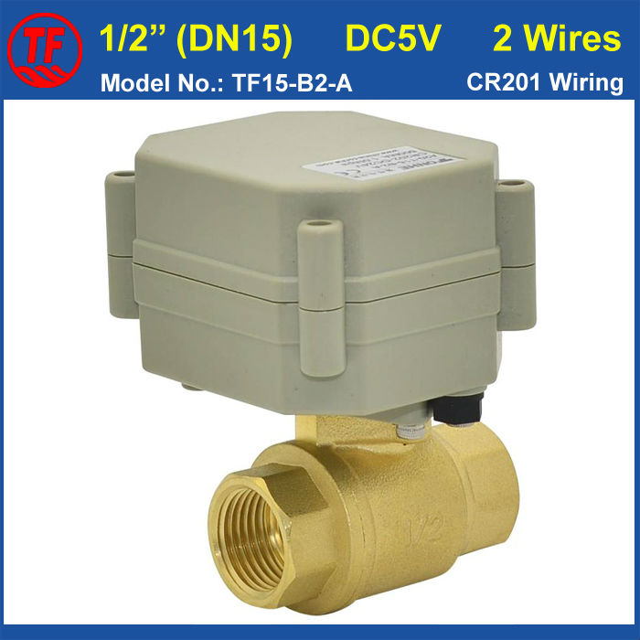 TF15-B2-A DN15 Electric Flow Control Valve DC5V 2 Wires CR201 Wiring BSP/NPT Female Thread 1/2'' Actuated Ball Valve(China (Mainland))