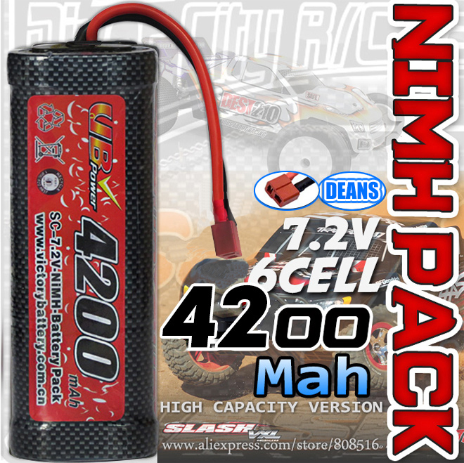 Brand New A+ class 6 cell 7.2V 4200mah NIMH Flat battery pack with Deans connector rechargeable rc battery for 1/8 1/10 RC cars(China (Mainland))