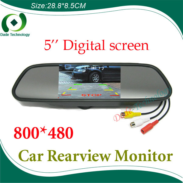 "High resolution 5"" Color HD TFT LCD Car Rearview Mirror Monitor 800*480 5 inch 16:9 screen DC 12V car Monitor for DVD Camera VCR(China (Mainland))"