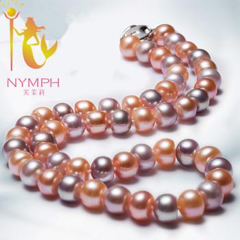 Розовый и фиолетовый природный жемчуг ювелирные изделия большой 10-11 ММ ожерелье Воротник реальная пресноводная перла ювелирных украшений X1003