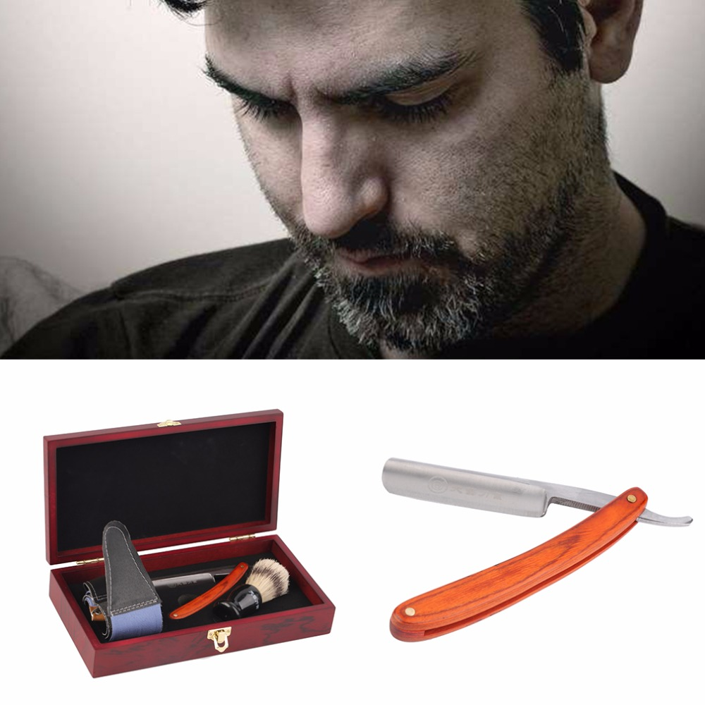 New arrival Straight Razor Shaving Knife Brush and Leather Strop Wood Handle Box Kit  Top Quality<br><br>Aliexpress