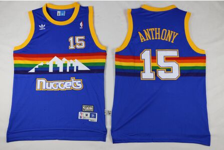 2016 Throwback Denver Nuggets 15 Carmelo Anthony RAINBOW 100% Stitched(China (Mainland))