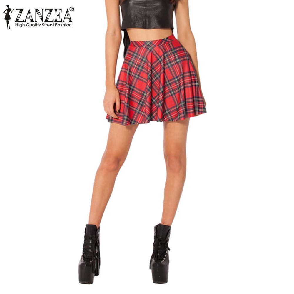 ZANZEA New 2016 Summer Style Women Pleated Retro High Waist Red Plaid Skirt Leisure Mini Skirt