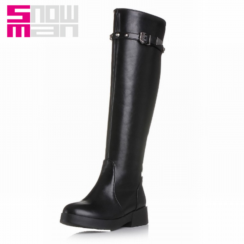 2015 Fashion Buckle Design Knee High Boots Warm Fur Shoes Solid Round Toe Platform Shoes For Women Casual Winter Boots