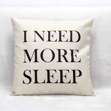 Black And White I Need More Sleep Print Linen Throw Pillow Case Cushion Cover