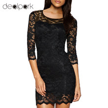 Buy New Bodycon Peplum Flower Lace Dress Floral Vestidos Slash o-neck Sexy Short Evening Women Dress Clothing Plus Size Black White for $8.74 in AliExpress store