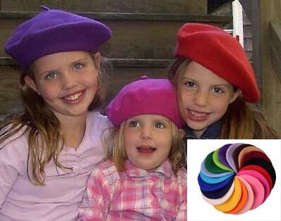 Wholesale 6pcs Quality Kids Plain Wool Berets Cap Boys Spring Blank Felt Berets Hat Girls Fall Wool Caps Children Trilby Hats(China (Mainland))