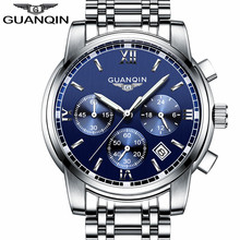 Buy GUANQIN LUXURY Men Business Top Brand Silver Steel Quartz-Watch Chronograph Luminous Date Clock Men's Fashion Casual Wristwatch for $35.05 in AliExpress store