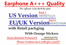DHL 20Pcs/lot A++++ Quality headset in ear earphone With Remote Mic with retail packing for iphone SE 5 5s 6 6S plus(China (Mainland))