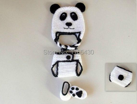 Free Crochet Baby Panda Hat Pattern : Free shipping!! Panda Bear Baby Set CROCHET PATTERN Beanie ...