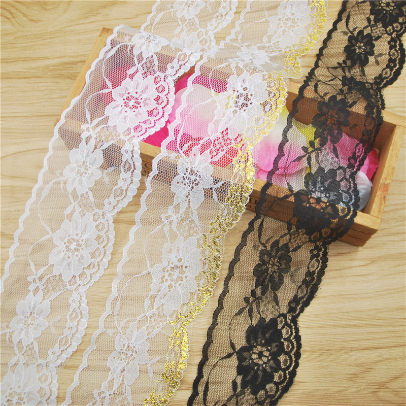 Elegant 60mm white gold black Lace Fabric Trim Gorgeous Cheap Lace Ribbon DIY Packing Trims Garment Accessories 50 yards L730(China (Mainland))